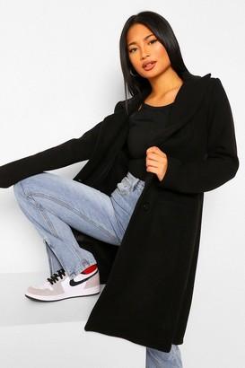 boohoo Petite Wool Look Double Breasted Coat