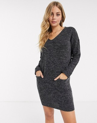 Brave Soul moss v neck sweater dress with pockets in charcoal