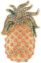 Carolee Gold-Tone Pavé & Peach Stone Pineapple Pin