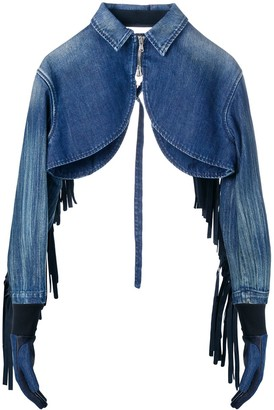 Diesel Red Tag Fringed Cropped Denim Jacket