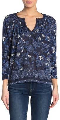 Lucky Brand Floral Paisley 3/4 Sleeve Top
