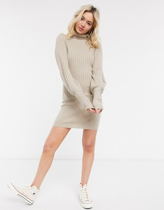 Brave Soul pacha roll neck jumper dress with balloon sleeve
