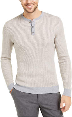Tasso Elba Men Cashmere Striped Henley Shirt