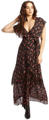 Missguided Floral Plunge Wrap Ruffle High Low Dress