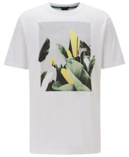 BOSS Crew-neck T-shirt in Pima cotton with photographic print