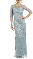 Kay Unger Sequined Lace Illusion Gown