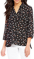 Investments Petites Collared V-Neck 3/4 Sleeve Printed Top