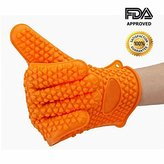 MsFeng [1 Pc] Silicone Heat Resistant Grilling BBQ Gloves for Cooking, Smoking & Potholder - Oven Grill Mitts Insulated Waterproof - Protection for Withstands Hot & Cold - One Size Fits Most (Orange)
