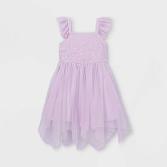 Cat & Jack Girls' Flutter Sequin Short Sleeve Tulle Dress - Cat & JackTM Light