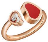 Chopard Happy Hearts Carnelian & Diamond Ring in 18K Rose Gold, Size 52/53