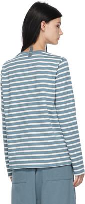 Marc Jacobs Blue & White 'The Striped T-Shirt' Long Sleeve T-Shirt