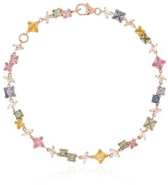 Suzanne Kalan 18kt rose gold sapphire diamond Rainbow Firework bracelet