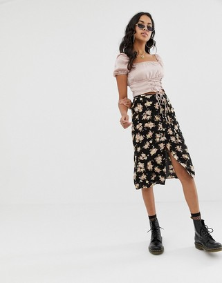 Motel midi skirt with thigh split in floral
