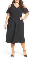 Sejour Plus Size Women's Cold Shoulder Midi Dress