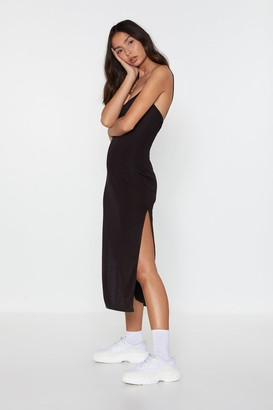 Nasty Gal Womens I Know the Scoop Ribbed Midi Dress - black - 12