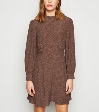 New Look Spot High Neck Long Sleeve Mini Dress