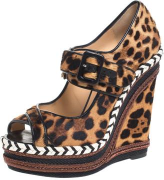 Christian Louboutin Leopard Print Calf Hair And Leather Trim Highlander Platform Sandals Size 38.5
