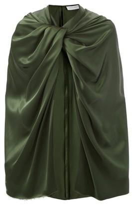 Marina Moscone Twist-shoulder Satin Cape - Green