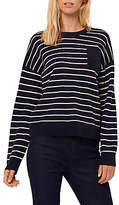 Jaeger Cashmere Striped Sweater, Navy/Ivory