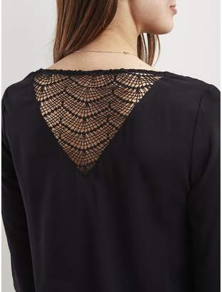Vila Round Neck Blouse with 3/4 Length Sleeves