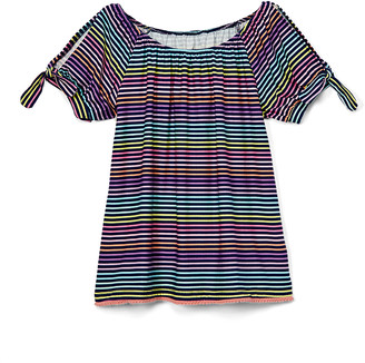 Aeropostale p.s. from Girls' Tee Shirts NAVY - Navy Stripe Tie-Sleeve Tee - Girls