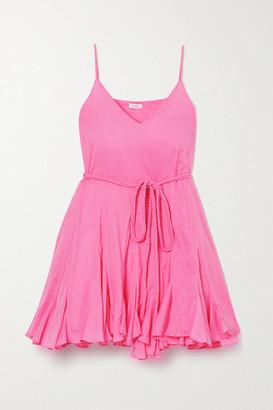 Rhode Resort Casey Belted Ruffled Cotton-voile Mini Dress - Pink