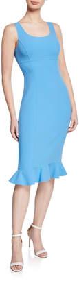 Michael Kors Ruffle-Hem Wool Crepe Sheath Dress