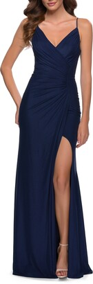La Femme Strappy Back Ruched Jersey Gown
