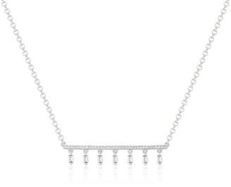 Ri Noor Diamond Bar & Diamond Baguette Tassel Necklace In White Gold