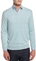 Neiman Marcus Cashmere-Silk V-Neck Sweater, Mint