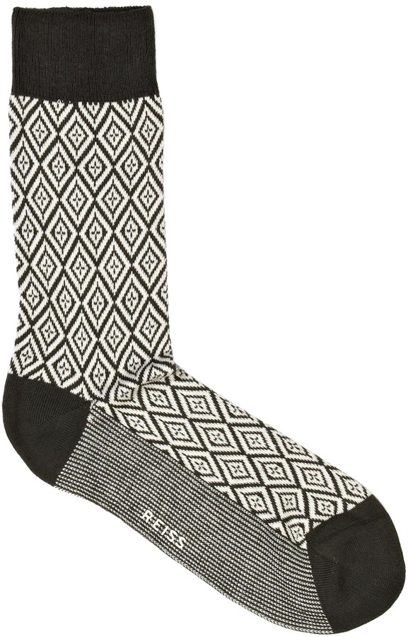 Reiss Swiss JACQUARD PATTERN SOCKS