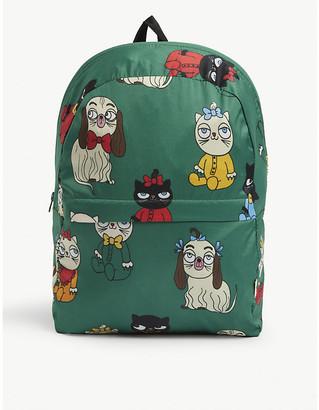 Mini Rodini Kids cat and dog print backpack