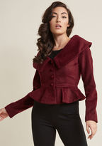 Collectif Cropped Jacket with Retro Peplum in 10 (UK) - Decorative by Collectif from ModCloth