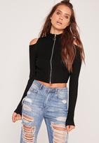 Missguided Zip Through Cold Shoulder Crop Sweater Black