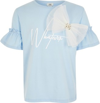 River Island Girls Blue 'Whatever' organza bow T-shirt