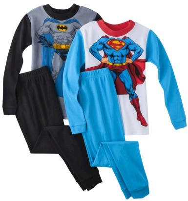 Batman and Spiderman 4-Piece Long-Sleeve Pajama Set
