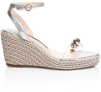 Sophia Webster Dina Embellished Vinyl & Metallic Leather Espadrille Wedges