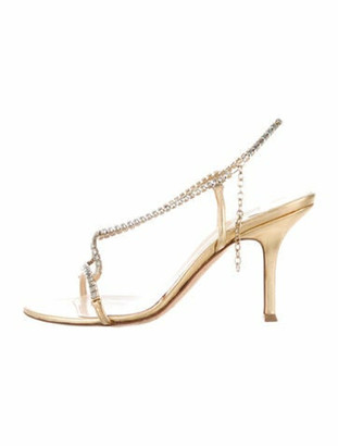 Jimmy Choo Leather Crystal Embellishments Slingback Sandals Gold