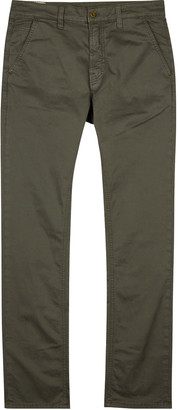 Nudie Jeans Adam Army Green Slim-leg Chinos