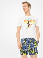 Michael Kors Slim-Fit Sunflower Cotton-Broadcloth Shorts