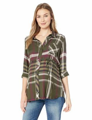 Motherhood Maternity Women's Maternity Convertible Sleeve Front Pocket Button Up Woven Shirt
