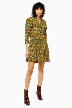 Topshop Womens Tall Idol Agadir Paisley Pleat Mini Shirt Dress - Mustard