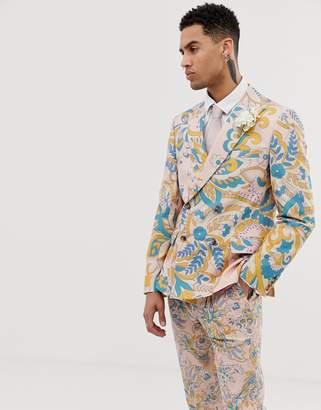 Asos Design DESIGN wedding slim double breasted suit jacket in paisley print-Beige