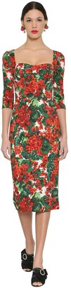 Dolce & Gabbana Printed Stretch Cady Midi Dress