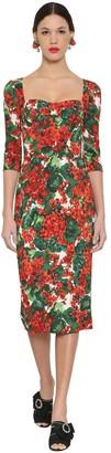 Dolce & Gabbana Printed Stretch Cady Midi Dress