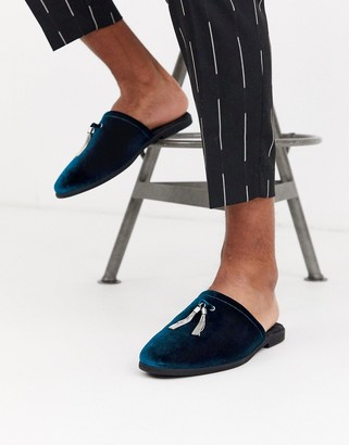 Asos Design DESIGN backless mule loafer in teal velvet with silver tassel detail-Blue