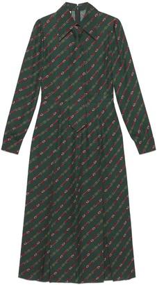 Gucci Interlocking G and belts print dress