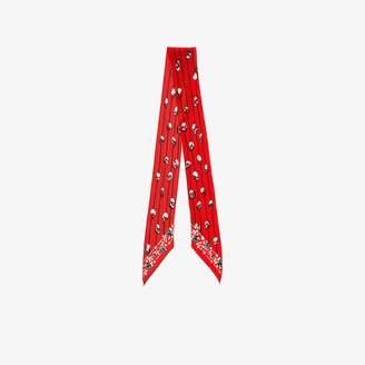 Rockins red skull print skinny silk scarf