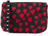 RED Valentino heart print zipped clutch - women - Polyester/Polyurethane/metal - One Size