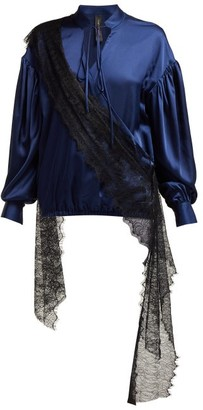 Romance Was Born Devotion Lace-trimmed Satin Blouse - Navy